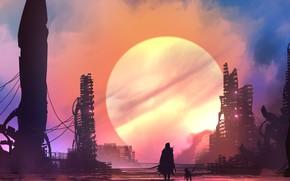 Wallpaper city, future, sword, fantasy, weapon, Sun, sunset, science fiction, dog, man, sci-fi, ruins, digital art, ...