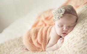 Picture sleep, sleeping, girl, bow, shawl, baby