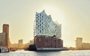 Wallpaper sunset, the city, river, the building, Germany, Elba, architecture, Hamburg, facade, Hamburg, the Elbe Philharmonic ...