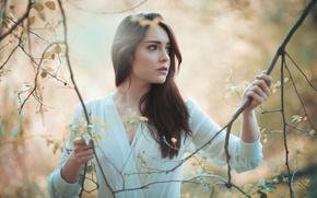 Picture girl, branches, mood, Jose Macias