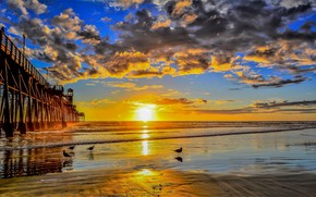 Picture sea, the sky, clouds, dawn
