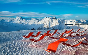 Picture winter, the sky, the sun, snow, mountains, stay, Austria, Alps, red, sunbeds, hill