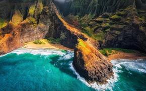 Wallpaper beaches, The Hawaiian Islands, rocks, the ocean, Hawaii, mountains, sea