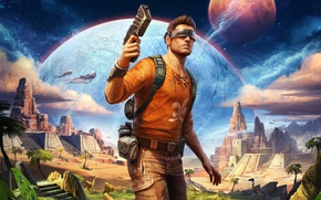 Picture pistol, game, weapon, man, Outcast Second Contact, Outcast: Second Contact
