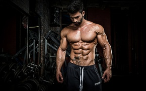Picture pose, tattoo, muscle, muscle, tattoo, press, dumbbells, gym, gym, bodybuilder, abs, dumbbells, bodybuilder
