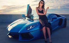Picture girl, Lamborghini, supercar, beauty