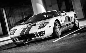 Picture sport, Ford, Machine, Ford, bucket, Ford GT, American, Blue, White, Racing, service, Sports car, Stripes, …