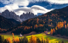 Picture autumn, forest, the sky, clouds, mountains, Alps