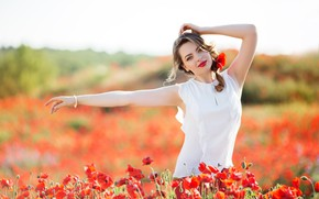 Picture field, summer, girl, the sun, flowers, pose, Maki, makeup, hairstyle, red, blouse, white, brown hair, …