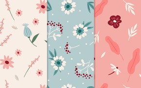 Picture texture, blue, pink, patterns, flowers, pretty