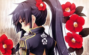 Picture back, girl, emblem, long hair, art, in profile, sideways, Hinata Katagiri, red Camellia