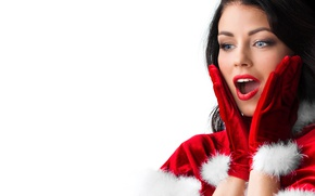 Wallpaper gloves, hairstyle, makeup, brunette, fur, surprise, girl, in red, maiden, new year, white background, joy, ...