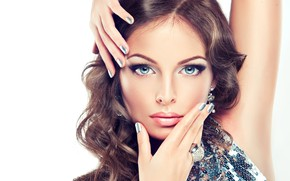 Picture look, girl, face, style, model, hands, makeup, ring, hairstyle, blue eyes, manicure, Sofia Zhuravets'