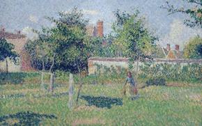 Wallpaper landscape, The woman on the Lawn. The Spring Sun. Eragny, Camille Pissarro, picture