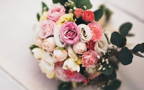 Wallpaper buds, pink, yellow, petals, leaves, white, roses, bouquet, flowers