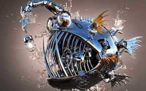Picture water, drops, metal, Shine, fish, 3Ds