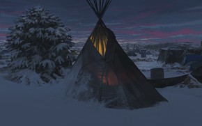 Wallpaper night, fiction, art, camp, sacred land, Faraz Shanyar