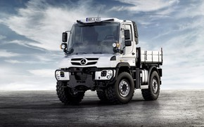 Picture white, the sky, clouds, surface, Mercedes-Benz, truck, Unimog, U423