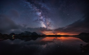 Picture the sky, stars, light, mountains, night, the milky way, the fjord