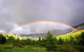 Picture mountains, rainbow, Nature after the rain
