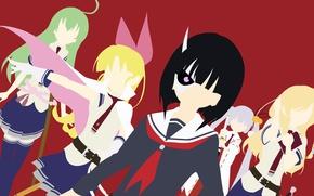 Picture girl, sword, anime, katana, ken, blade, mask, seifuku, student, miko, horn, Armed Girl's Machiavellism, Busou …