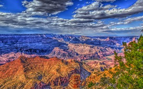 Picture the sky, the sun, clouds, trees, rocks, HDR, canyon, gorge, USA, The Grand Canyon, Grand …