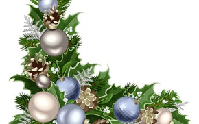 Picture branches, balls, white background, New year, vector graphics
