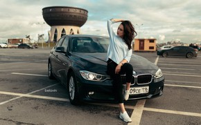 Picture machine, auto, girl, pose, BMW, on the hood, Parking, Belavin, Alexander Belavin