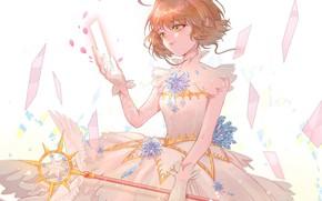 Picture wings, angel, girl, green eyes, Card Captor Sakura, Sakura - collector cards