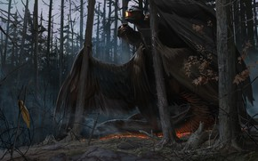 Picture dragon, sword, being, Forest