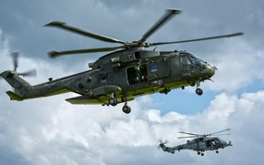Wallpaper the sky, pair, helicopters, Merlin, AgustaWestland AW101
