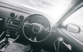 Picture Audi, black and white, salon