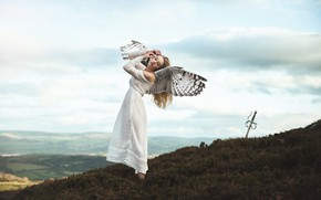 Wallpaper the sky, girl, clouds, mountains, pose, fantasy, mood, height, wings, the situation, angel, sword, dress, ...