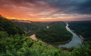 Picture trees, Spring, Germany, Summer, Saarschleife, river bend, the river Saar
