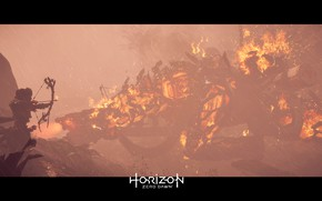 Picture Girl, Robot, Fire, Rain, Fur, Bow, PS4 Pro, Horizon Zero Dawn, Eloy, SonyPlaystation