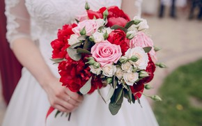 Picture roses, bouquet, the bride, wedding, peonies, wedding