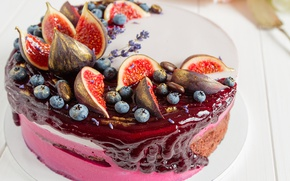 Wallpaper Common fig, Cakes, sweet, figs, blueberries, dessert, Sweets, cake