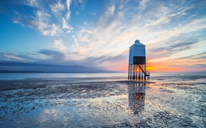 Picture sunset, lighthouse, England, tide, Burnham-on-sea