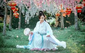 Picture girl, garden, Asian