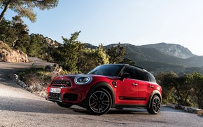 Picture road, auto, mountains, Mini, red, countryman, John Cooper