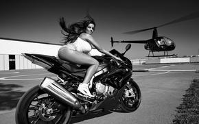 Wallpaper bike, girl, motorcycle, helicopter