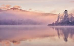 Picture mountains, fog, lake, England, Cumbria