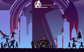 Picture fiction, art, silhouettes, poster, comic, superheroes, MARVEL, Avengers: Infinity War, The Avengers: infinity War