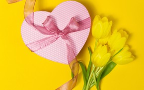 Picture flowers, background, gift, bouquet, tape, yellow tulips, Valeria Maksakova