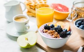 Wallpaper berries, yogurt, fruit, Breakfast, juice, coffee, waffles