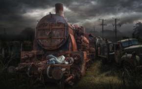 Picture girl, sleep, the engine, rust, truck, scrap, Buktan Hummen