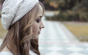 Picture girl, hair, cap, Lorena Veas