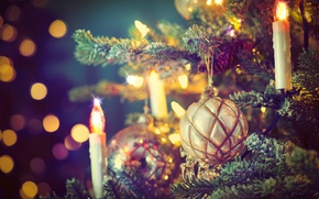 Picture ball, candles, ball, tree, bokeh