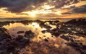 Wallpaper sunset, shore, Hawaii, Makena Cove