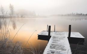 Wallpaper winter, bridge, lake, fog